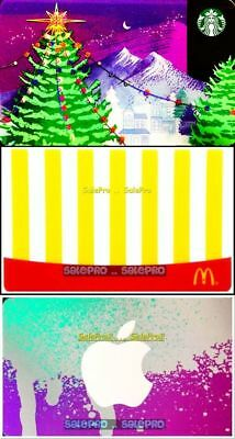 3x STARBUCKS CHRISTMAS TREE McDONALD FRIES APPLE STORE COLLECTIBLE GIFT CARD LOT