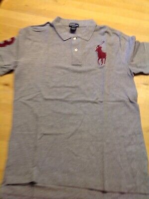 Polo Ralph Lauren Mens Grey Shirt Top Size XL (18-20 years) Dark Red Big Pony