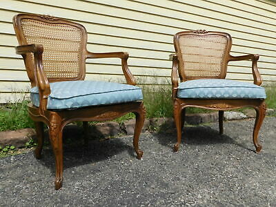 NICE! Vintage Pair French Louis XV Cane Lounge Parlor Vanity Desk Chairs C1970