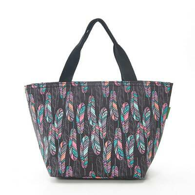 Eco Chic - Black Feather Print - Insulated Lunch Bag