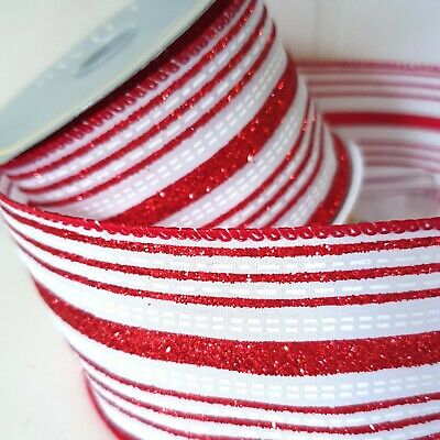 1Metre Red & White Candy Cane Striped Glitter Christmas Ribbon Sweets Lollipop