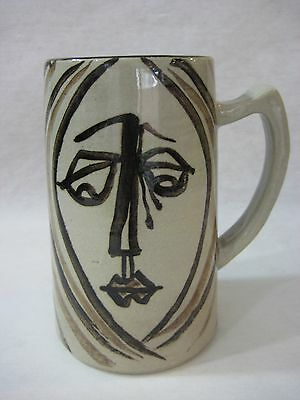 Vintage Chinese/Japanese Hand Crafted & Painted Art Pottery Mug Stein, Signed