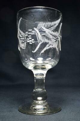 "Antique Victorian Rummer Glass 6"" Tall Engraved Ferns Late 19thC"