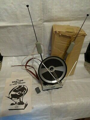 "Vintage ""The Gfx-100 Indoor Colour Tv Dish Antenna. Complete, Box, Instructions"