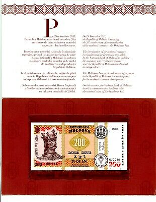 MOLDOVA 200 LEI 2013 P-19 UNC COMMEMORATIVE FOLDER