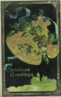 Antique Post Card c.1915  Christmas Greetings Church Bells With Holly