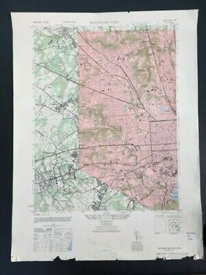 """Large Vintage 1946 Baltimore, MD Map (Army Map Service 22"""" x 29"""" Topo)"""
