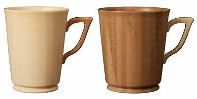 RIVERET  MUG Large White & Brown pair Bamboo Made 240ml (9.1oz) FS JAPAN