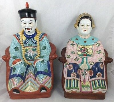 Beautiful Hand painted Old Porcelain Chinese Emperor and Empress Statue Figurine