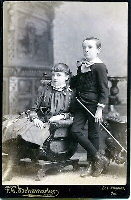 Cabinet Card Photo Boy and Girl Siblings ID'D 1800's LOS ANGELES CA RARE