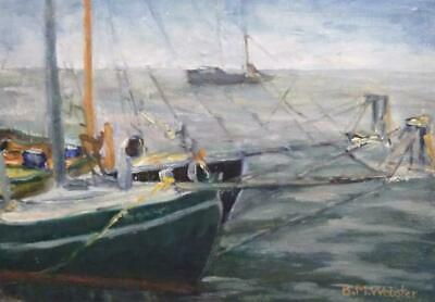 Vintage Oil Painting Signed B. M. Webster Nautical American Boats Ship Seascape