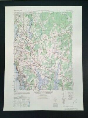 "Large Vintage 1947 East Providence, RI Map (Army Map Service 22"" x 29"")"