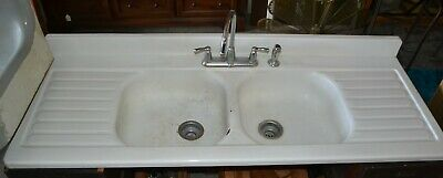 "Vintage Enamel Double Farmhouse Kitchen Sink with Double Drainboard 66"" White"