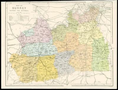 c1880 Original Antique Map of SURREY Showing the Hundreds by Virtue & Co