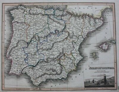 Original antique map SPAIN, PORTUGAL, IBERIAN PENINSULA, BALEARICS, WYLD c.1825