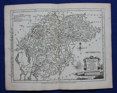 Original antique county map WESTMORLAND, 'WESTMORELAND', J.Ellis, c.1765