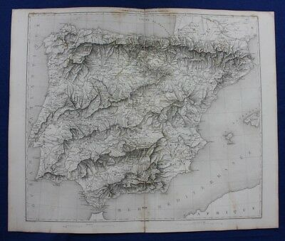 Original antique map, SPAIN & PORTUGAL, IBERIAN PENINSULA, Duvotenay, 1859