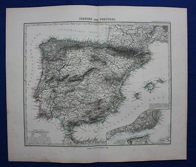 SPAIN, PORTUGAL, IBERIAN PENINSULA, BALEARICS original antique map, Stieler 1880