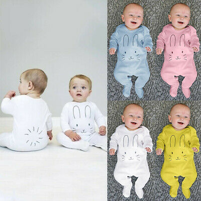 Newborn Infant Baby Girls Boys Long Sleeve Rabbit Cartoon Print Romper Jumpsuit