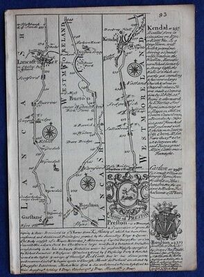 Original antique road map WESTMORELAND, CUMBERLAND, PENRITH, E. Bowen, c.1724