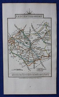 Original antique county map LEICESTERSHIRE, John Cary, 1828