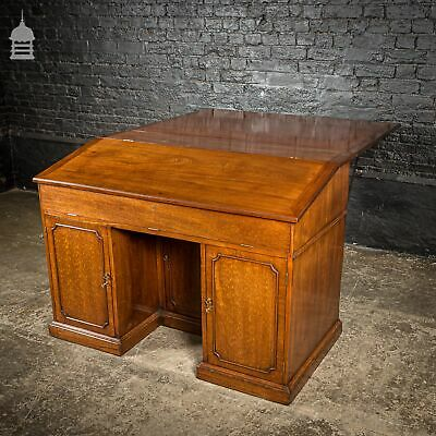 Rare Victorian Striking Mahogany Pedestal Bureau Desk with Large Drop Leaf Table