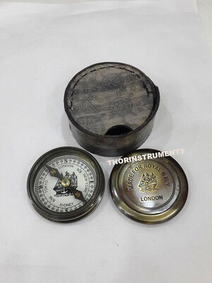 Nautical Brass Marine Made For Royal Navy London Compass With Black Leather Box