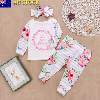 3Pcs Baby Girls Floral Long Sleeve Tops Pants Headband Outfits Clothes Tracksuit