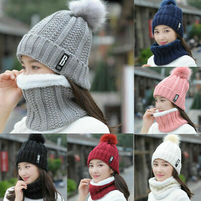 Women Ladies Winter Warm Wooly Thick Knit Hat And Scarf Set knitted Woollen