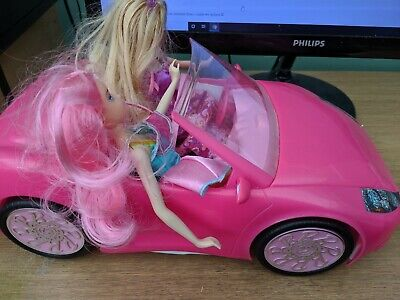 """Barbie Convertible Pink Car and Doll with 2 barbies car is 14"""" long"""