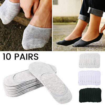 10Pairs Men Women Invisible Low Cut No Show Footlet Socks Cotton Rich No-Slip AU
