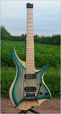7 Strings Headless Electric Guitar  style blue burst  color Flame maple Neck in