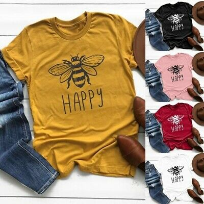 Women Happy Bee Pattern Print Short Sleeve T-Shirts Summer Casual Shirts Tops AU
