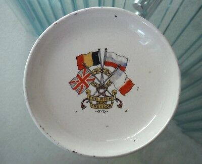 Small Butter Pat Dish-For Right And Freedom-Allies Four Flags Wwi ^