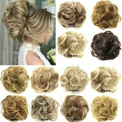 Real 100% Human Hair Extension Wrap Messy Hair Bun Curly Heat Ponytail Hairpiece