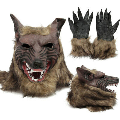 Halloween Latex Rubber Wolf Head Hair Mask Werewolf Gloves Costume Party Scary