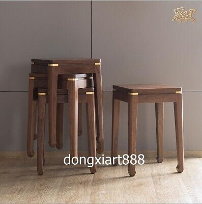 Brass Black walnut solid wood furniture Wooden dining room square High stool