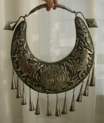 Vintage  Exotic Chinese Handmade Miao Silver people ride animal Necklace