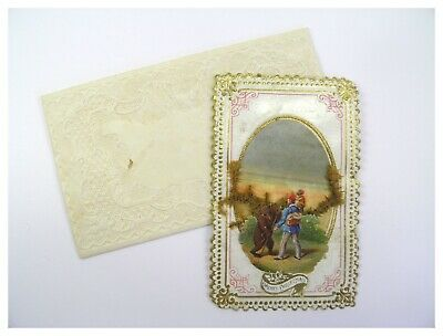 Antique 19th century paper lace scrap Christmas greeting card dancing bear