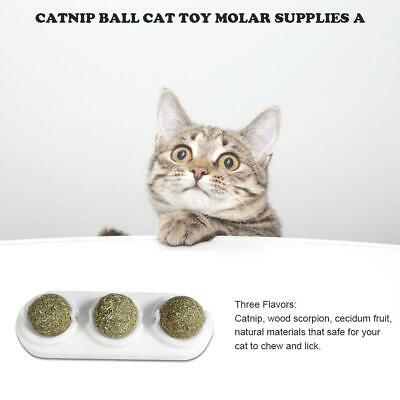 3xCat Natural Catnip Ball Toys Kitten Treat Ball Cats Playing Cleaning Teeth Toy