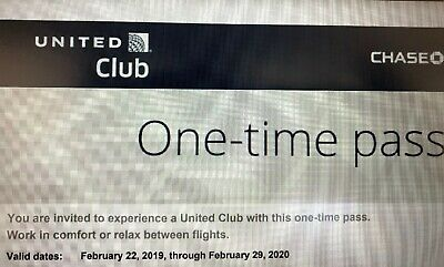 2 United Airlines Club Passes, Exp. Feb 2020, email delivery only
