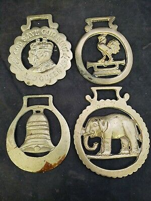 Vtg Brass Horse Saddle Harness Medallion Ornament Badge Wagon Tack lot of 4 (vs)