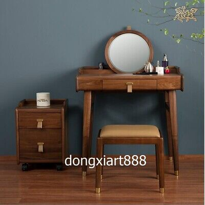 Black walnut solid wood furniture Wooden dressing table cabinet dressing stool