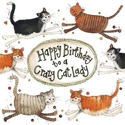 Alex Clark Crazy Cat Lady Birthday Greeting Card Glitter & Sparkle Cards Gift