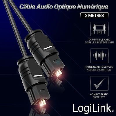Cable Audio optique TOSLINK Mâle/Mâle Digital Audio Optical 3m HiFi Home Cinéma,