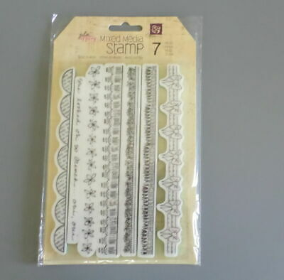 Julie Nutting Prima Cling Stamps Borders 7 Pieces Mixed Media New 910204