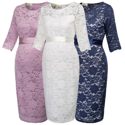 Gk Maternity Women Half Sleeve Crew Neck Hips-wrapped Lace Dress 3colours Uk