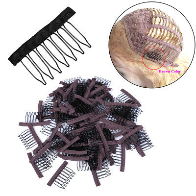 10Pcs comb hair extensions clips steel tooth combs for lace cap wig 7 te~GN