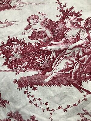 Stunning French Antique C1890 Sample Toile De Jouy Cotton Fabric 97/61cms