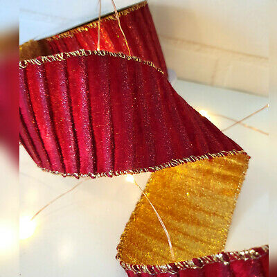 Wired Red & Gold Christmas Ribbon Velvet Glitter Bow Cake Tree Decoration Wreath